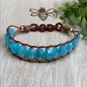 Fashion Beaded Stretch Bracelet 💗 Aqua & Brown